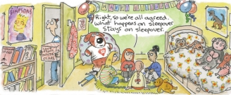 Sleepover-Clare In The Community by Harry Venning